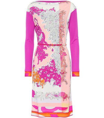 Printed silk-blend minidress
