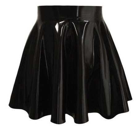 Black Latex Skater Skirt