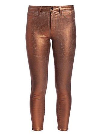 L'Agence Margot Metallic High-Rise Skinny Metallic Jeans | SaksFifthAvenue