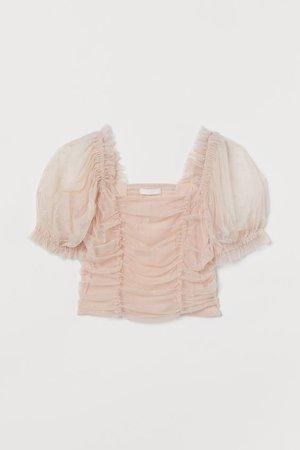 Puff-sleeved Mesh Top - Light powder pink/dotted - Ladies | H&M US