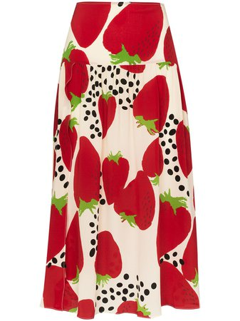 Adriana Degreas Strawberry Print Midi Skirt - Farfetch