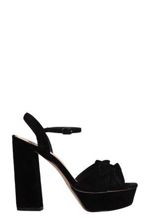 Bibi Lou Plateau Black Suede Sandals