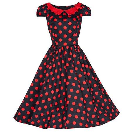 Black and Red Polka Dot Swing Dress - Pretty Kitty Fashion