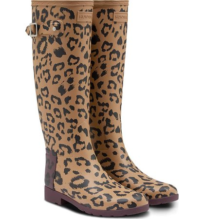 Hunter Original Leopard Print Refined Tall Waterproof Rain Boot (Women) | Nordstrom
