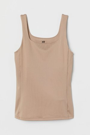 Sports Tank Top with Bra - Beige