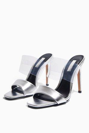 STELLA Silver Transparent Heels   Topshop