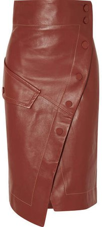 Button-detailed Leather Wrap Midi Skirt - Brown