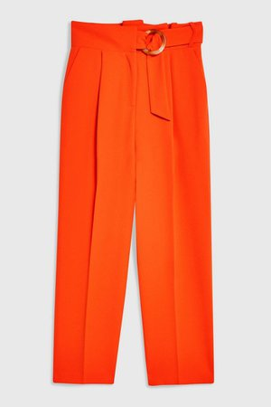 Red Belt Tapered Trousers | Topshop Red