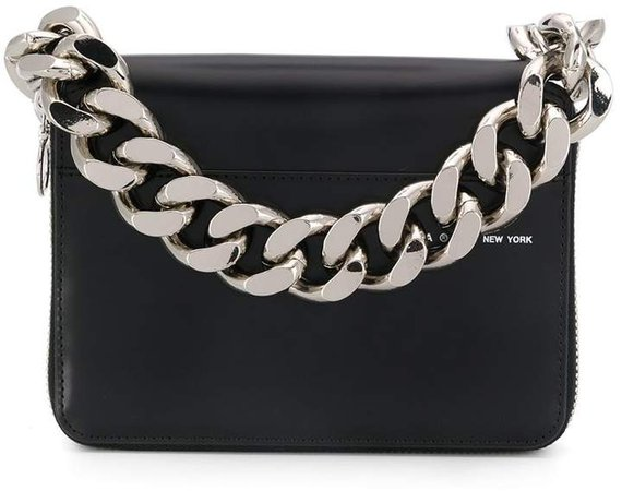 Faux-Leather Chain-Link Clutch