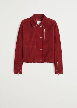 Zip leather jacket - Women   Mango United Kingdom