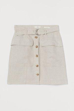 Linen Utility Skirt - Beige