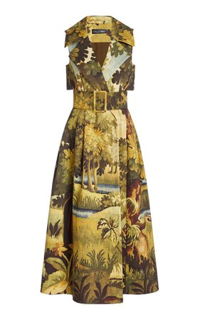 Belted Printed Cotton Midi Trench Dress By Oscar De La Renta | Moda Operandi