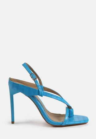 Blue Toe Post Strappy Heels | Missguided