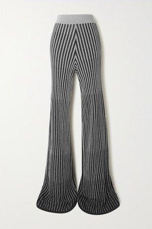 Metallic Ribbed-knit Flared Pants - Black