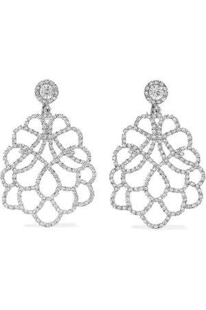 Kenneth Jay Lane | Rhodium-plated crystal clip earrings | NET-A-PORTER.COM