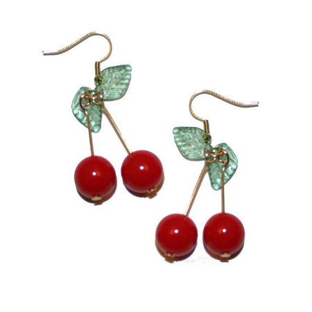 Big Cherry Earrings - cute kitschy fruit cherry earrings red cherries fruit jewelry fruity vacation earrings summer earrings