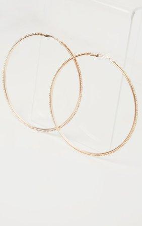 Gold Diamante Encrusted Hoop Earrings | PrettyLittleThing USA
