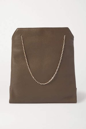 Lunch Bag Small Leather Tote - Army green