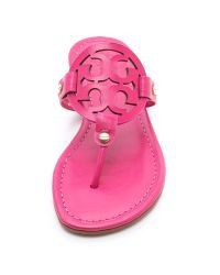 Tory Burch Miller Logo Sandals in Pink - Lyst
