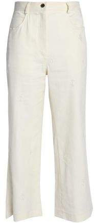 Cropped Distressed Cotton-blend Wide-leg Pants