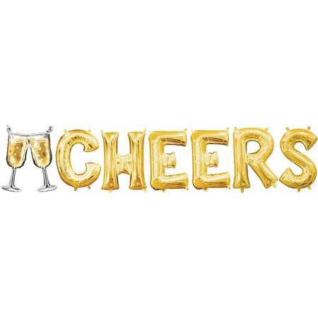 New Year's Air-Filled Gold Champagne Glass & Cheers Letter Balloon Kit 7pc | Party City Canada