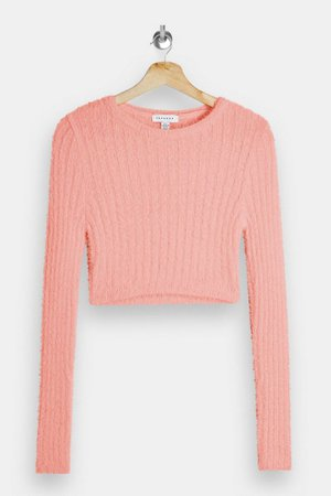 Pink Fluffy Ribbed Cropped Knitted Jumper   Topshop
