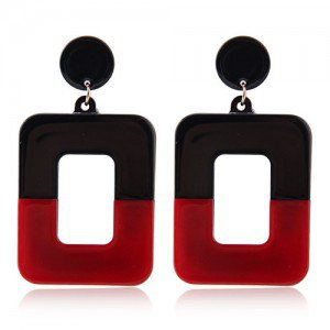Contrast Colors Dangling Square High Fashion Women Statement Earrings - Black and Red