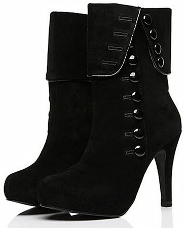 DADAWEN Women's Suede High Heel Side Zipper Ankle Booties Black