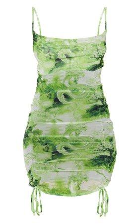 Lime Asian Print Tie Hem Bodycon Dress | PrettyLittleThing USA