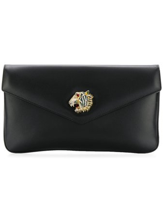 Gucci, tiger head black leather clutch bag