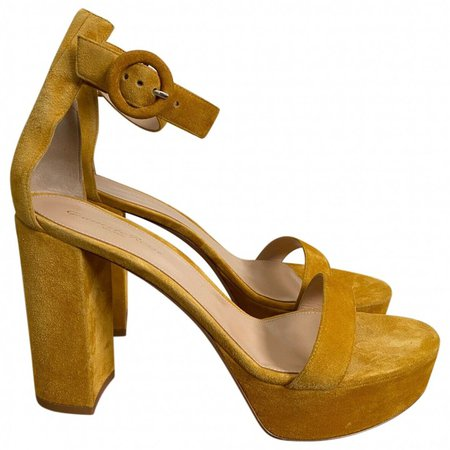 Portofino Yellow Suede Sandals