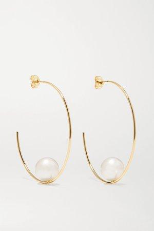 Gold 14-karat gold pearl hoop earrings | Mizuki | NET-A-PORTER