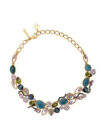 Oscar De La Renta, Crystal And Resin Necklace
