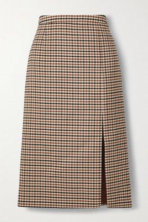 Checked Wool-blend Gabardine Skirt - Beige