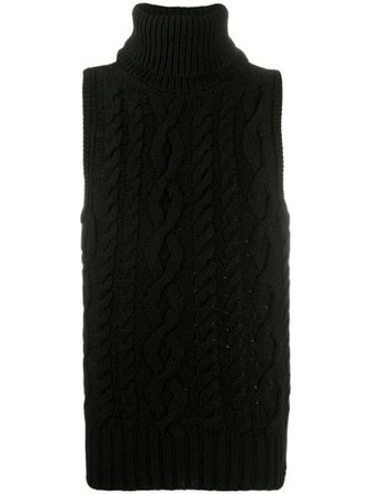 Black Telfar cable knit sleeveless jumper - Farfetch
