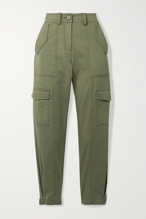 Elian Cropped Cotton-blend Twill Tapered Cargo Pants - Army green
