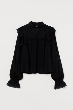 Lace-trimmed Blouse - Black