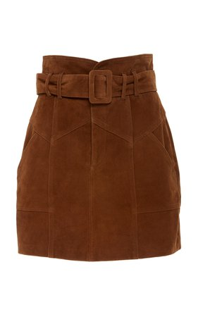 Marissa Webb Claire Belted Suede Mini Skirt Size: 0