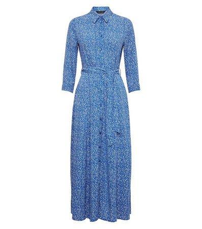 Blue Spot 1/2 Sleeve Shirt Midi Dress | New Look