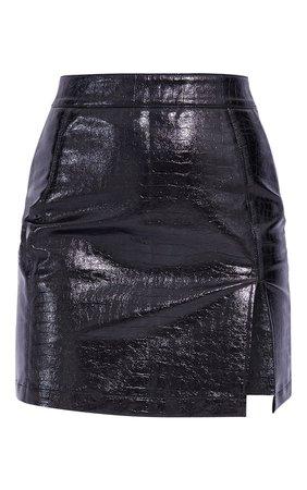 Tan Croc Vinyl Seam Detail Mini Skirt | PrettyLittleThing USA