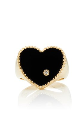 Yvonne Leon 9K Gold Diamond And Onyx Signet Ring