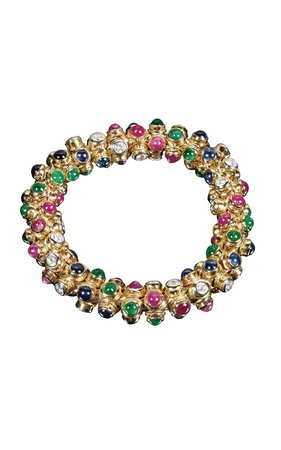 Moussaieff 18K Gold, Diamond, Ruby, Sapphire & Emerald Bracelet by Tiina Smith Vintage | Moda Operandi