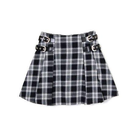Plaid Mini Skirt With Buckles
