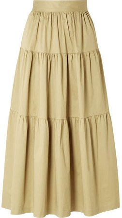 Sea Tiered Stretch-cotton Poplin Midi Skirt - Sand
