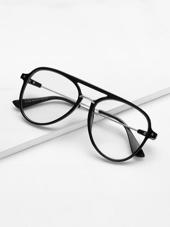 Double Bridge Flat Lens Glasses