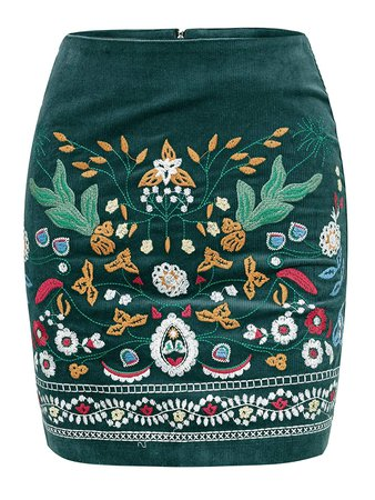 BerryGo Women's High Waist Embroidered Mini Skirt Boho Floral Pencil Skirt at Amazon Women's Clothing store