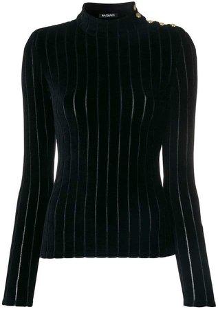 velvet striped turtleneck top