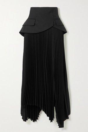 Asymmetric Layered Pleated Wool Skirt - Black