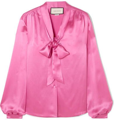 Pussy-bow Silk-satin Blouse - Pink