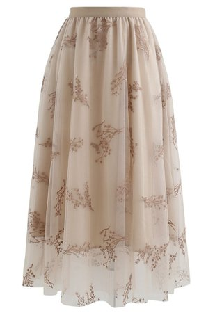 Sequins Embroidered Bouquet Mesh Midi Skirt in Tan - Retro, Indie and Unique Fashion